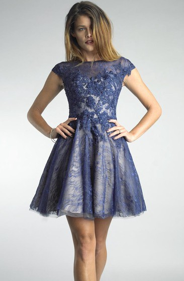 A Line Short Mini High Neck Short Sleeve Lace Illusion Dress