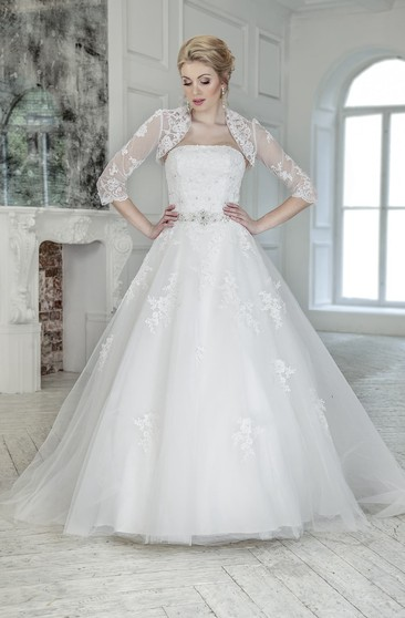 A-Line Long Strapless Illusion Tulle Lace Dress With Appliques And Waist Jewellery