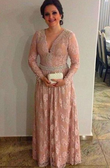 V Neck Long Sleeve A-line Lace Long Dress With Pearl Waist