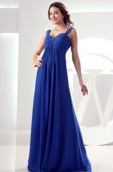 Chiffon Pleated Maxi Dress With Ruching and Empire Waist