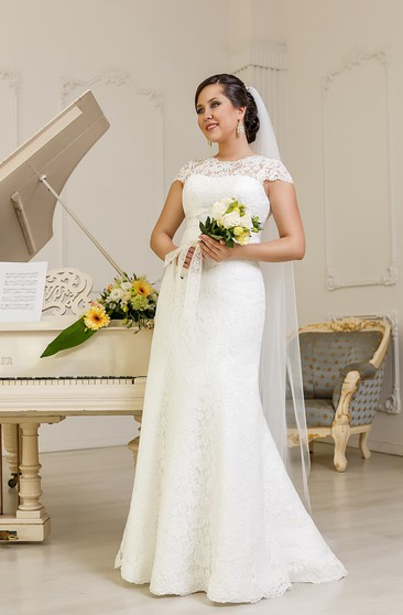 Sheath Floor-Length Jewel-Neck Cap-Sleeve Corset-Back Lace Dress With Sash And Beading