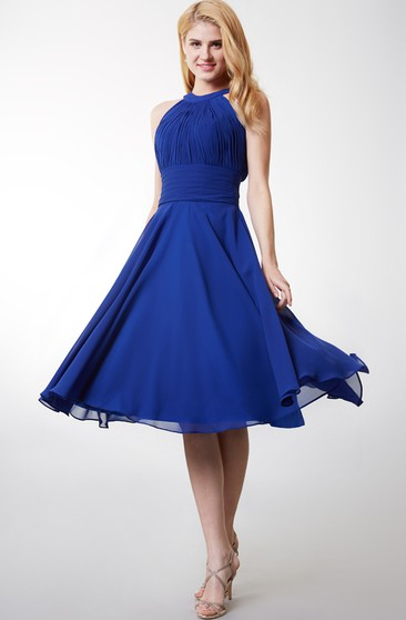 Stylish Halter Neck Pleated Knee Length Chiffon Dress