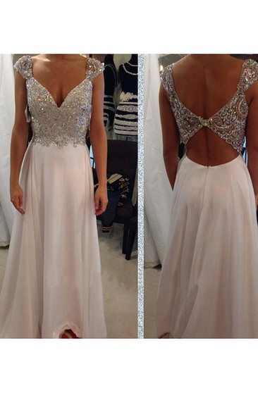 A-line Sleeveless V-neck Chiffon Beading Floor-Length Dresses