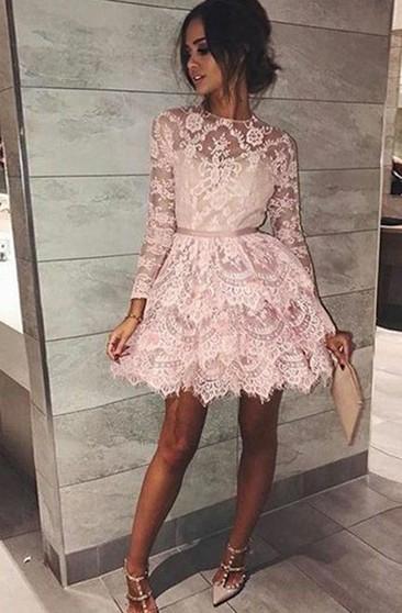 Long Sleeve Homecoming Dresses Plus Size - Dorriswedding