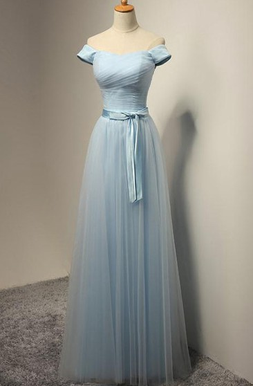 A-line Off-the-shoulder Floor-length Pleats Tulle Dress