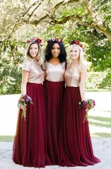 Burgundy Bridesmaid Dress Maroon Red Maid Of Honor Dresses