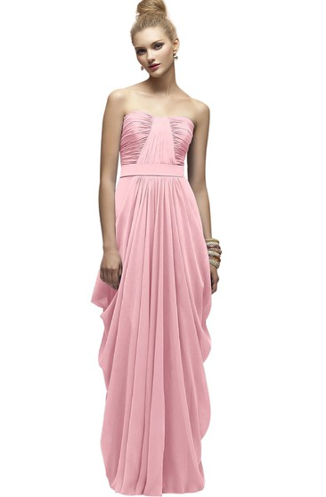 Chiffon Strapless Long Dress With Ruching