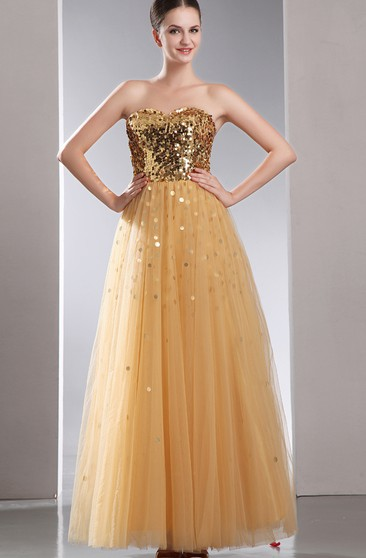 Sweetheart A-Line Dress With Sequins and Tulle Overlay