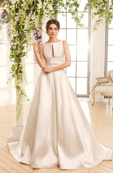 A-Line Floor-Length Bateau Sleeveless Keyhole Satin Dress