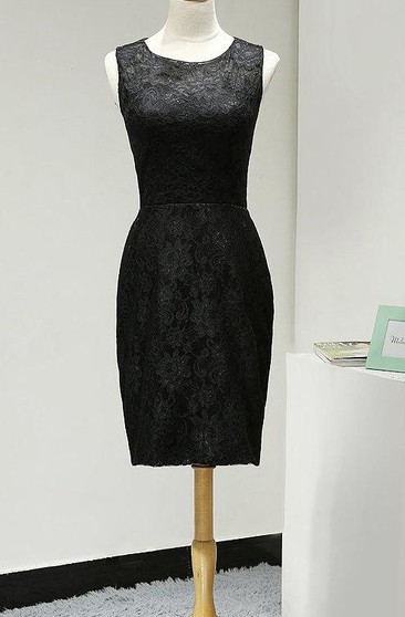Scoop Neckline Sleeveless Sheath Lace Knee Length Dress