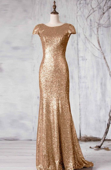 Bateau Cap Sleeve Sequined Mermaid Long Dress With V Back
