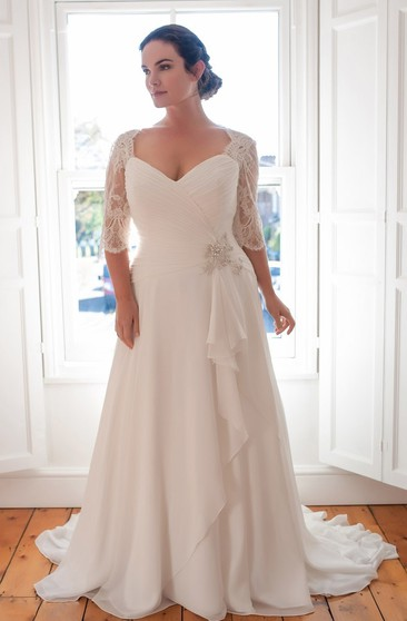 Long Sleeves Wedding Dress For Plus Ladies | Full Figure ...
