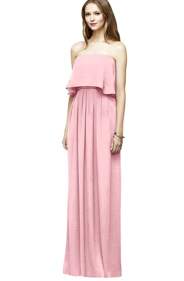 Long Chiffon Column Stylish Strapless Dress