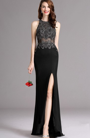 Sheath Floor-Length Sweep High-Neck Sleeveless Jersey Split Front Illusion Dress