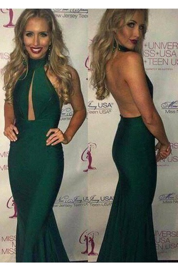 Gorgeous Green Halter 2016 Prom Dresses Mermaid Keyhole Party Gowns