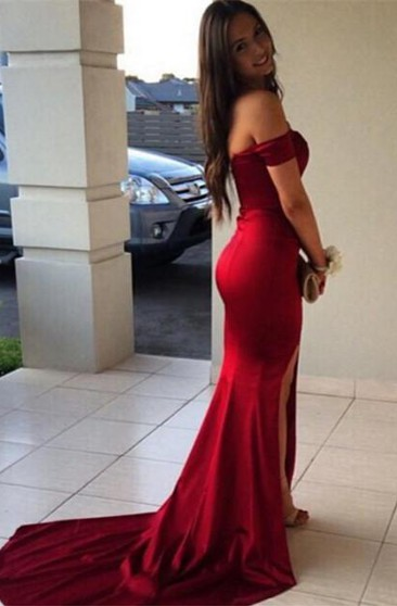 Modern Off-the-Shoulder Mermaid Prom Dresses 2016 Front Split