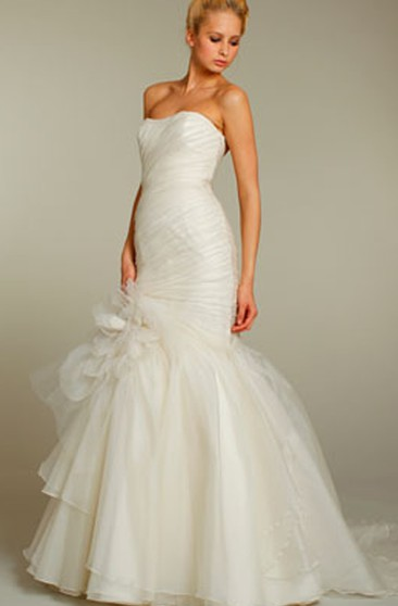 Sassy Strapless Asymmetrical Draped Bodice Organza Tiered Dress With Floral Detail