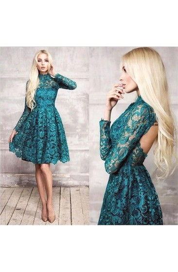 High Neck Long Sleeves Lace Knee Length Dresses With Backless