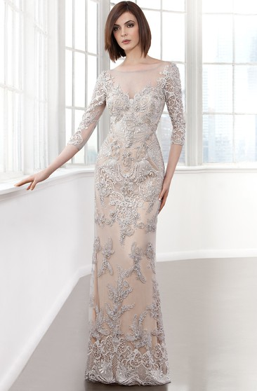 Sheath Long Bateau-Neck 3-4-Sleeve Beading Low-V Back Dress