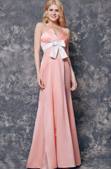 Strapless A-line Long Satin Dress With Bow