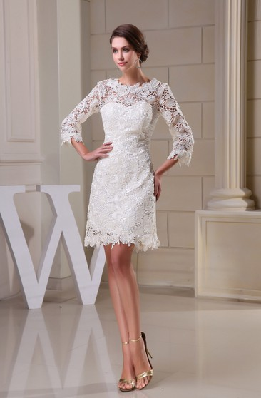 Refined Short A-Line Half Sleeve and Dress With Appliques