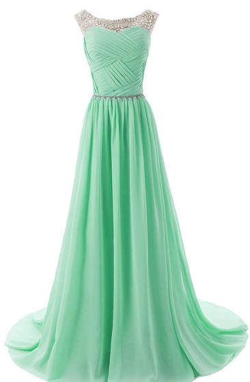 Bateau Neck Ruched Chiffon A-line Gown With Rhinestones