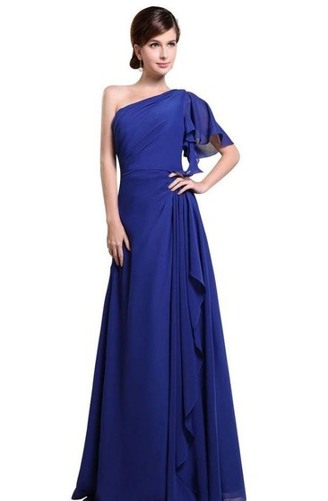 One-shoulder Drapped Sleeve Long Layered Chiffon Dress