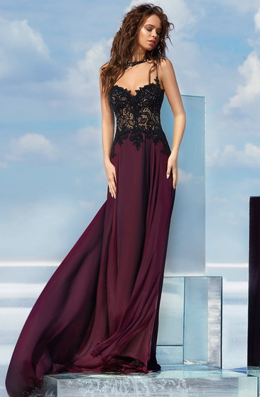 A-line Floor-length High Neck Sleeveless Chiffon Illusion Dress