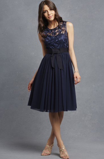 A-Line Exquisite Sleeveless Dress With Appliqued Bodice