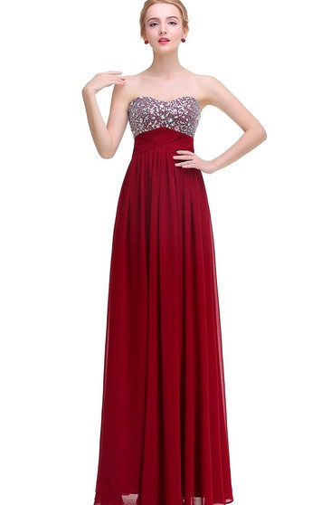 Sweetheart A-line Empire Floor-length Dress with Sequins