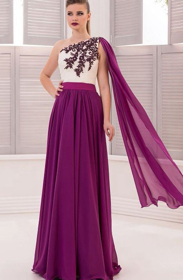A-Line Floor-Length One-Shoulder Sleeveless Chiffon Appliques Drapping Zipper Dress