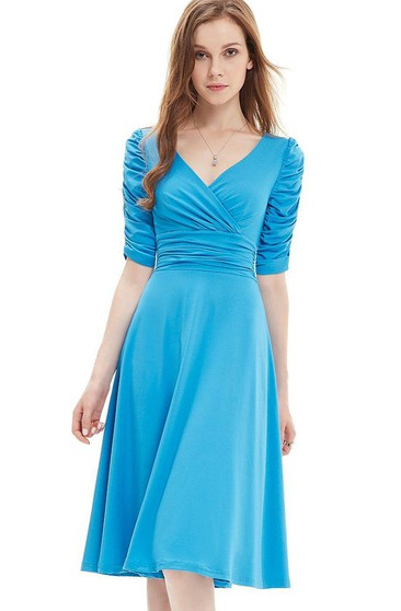 Half-sleeved V-neck Knee-length Ruched Dress