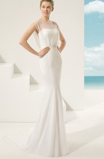 Illusion-Neck Back Plaited Long Dress With Embroidery