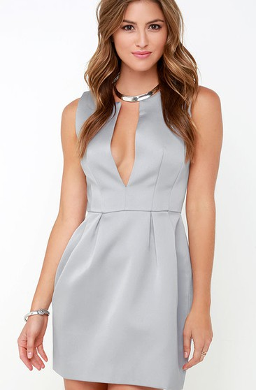 Chic Satin Sleeveless Dress With Notched Neckline