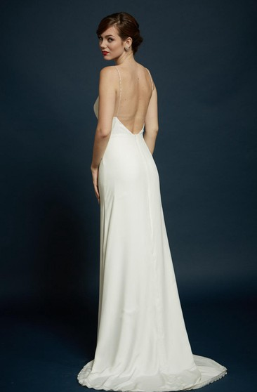 Charmeuse Sheath Sleeveless Dress With Spaghetti Straps and Open Back