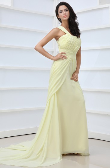 Vintage One-Shoulder Scalloped Neckline Chiffon Gown Front Split