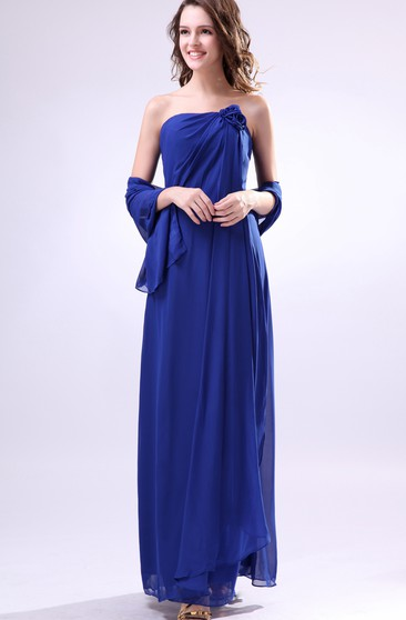 Chiffon Ankle-Length Dress With Ruched Cap and Flower