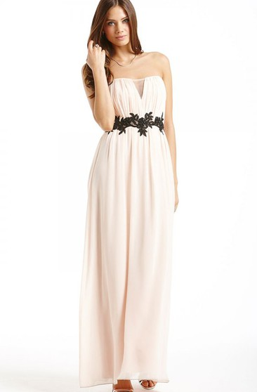 Long Chiffon Strapless Dress With Beaded Sash