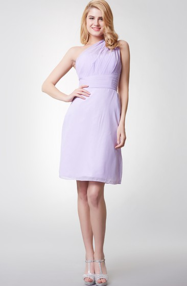 Bohemia One Shoulder Ruched Form-fitted Chiffon Dress