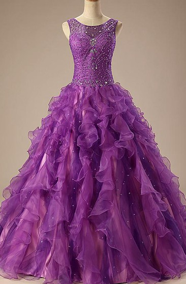 Ball Gown Floor-Length Sleeveless Beading Corset Back Lace Sequins Organza Satin Dress