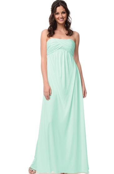Strapless Empire Chiffon Dress With Ruching
