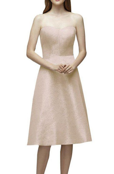 A-line Strapless Tea-length Bridesmaid Dress