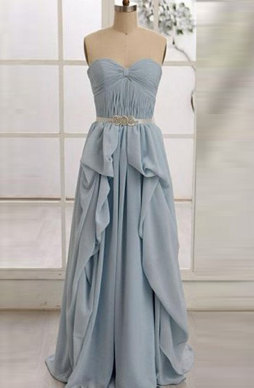 A-line Sweetheart Zipper Chiffon Dress with Ruffles