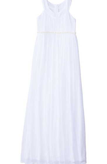 Sleeveless A-line Pleated Dress With Beadings