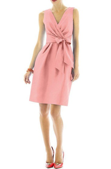 Ruched V-neck Short Satin Dress with Bow