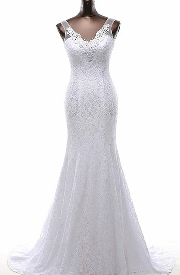 Trumpet Tea-Length V-Neck Sleeveless Beading Appliques Sweep Train Backless Lace-Up Back Lace Dress