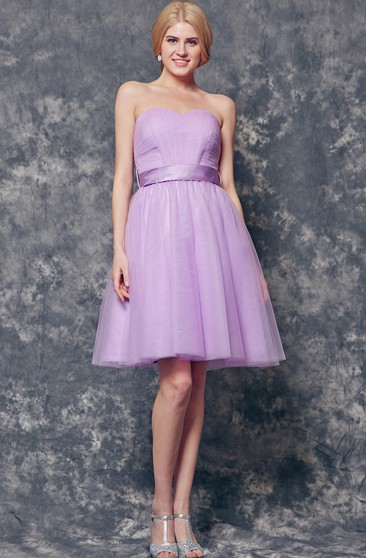 Sweetheart Pleated A-line Short Tulle Dress With Sash