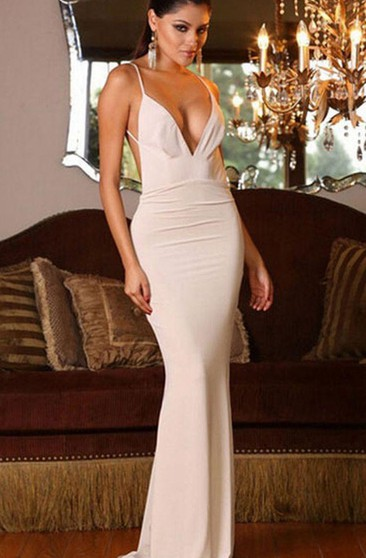 Sleeveless V-neck Long Mermaid Chiffon Backless Dress