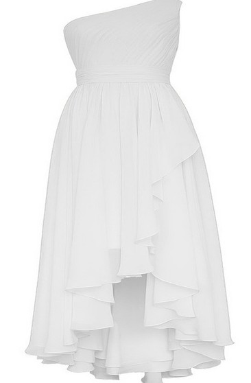 One-shoulder High-low Layered Pleated Chiffon Dress
