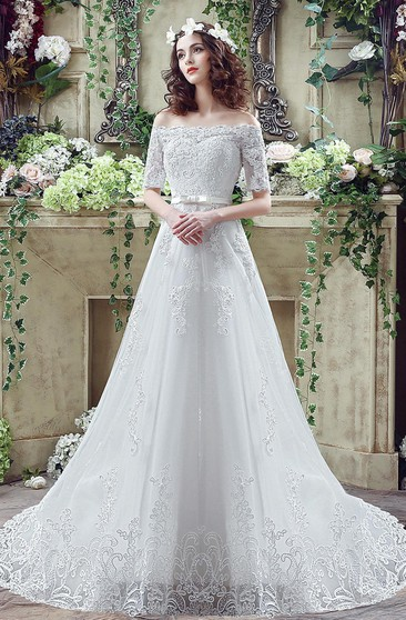 Elegant Off-the-shoulder Lace Appliques Wedding Dress 2016 Bowknot Lace-up